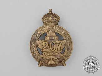 "A First War 207th Infantry Battalion ""Ottawa and Carleton Overseas Battalion"" Cap Badge"