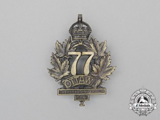 "A First War 77th Infantry Battalion ""Ottawa Battalion"" Cap Badge"