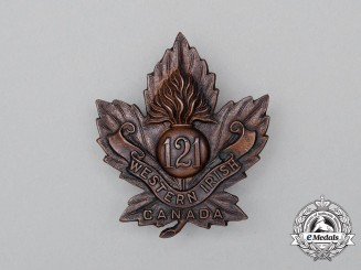"A First War 121st Infantry Battalion ""Western Irish"" Battalion Cap Badge"