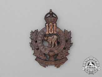 "A First War 181st Infantry Battalion ""Brandon Battalion"" Cap Badge"