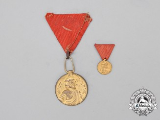 Two Serbian Milos Obilic Bravery Medals; Gold Grade