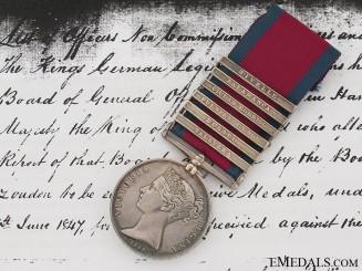 Military General Service Medal, Private Charles Gunter, 1st Line Battalion, King's German Legion
