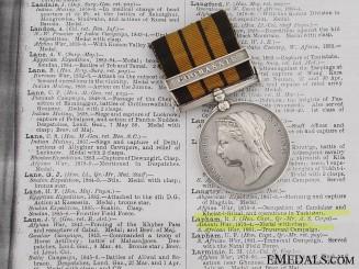 Ashantee Medal to R. J. Lapham