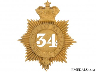 34th (Cumberland) Regiment of Foot Helmet Plate