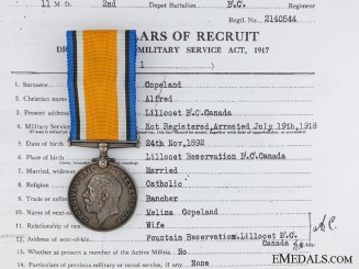 British War Medal to Native Canadian; British Columbia Regiment