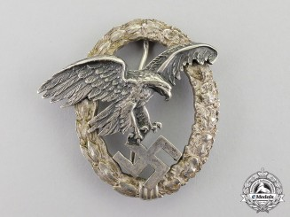 "Germany. A Scarce & Desirable Luftwaffe Observer's Badge, Early Version by ""CEJ"" (Juncker)"