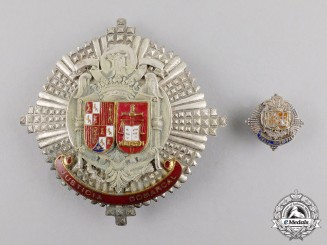 Spain, Fascist State. A County Justice Official's Star with Municipal Tax Official's Miniature Badge