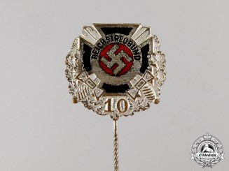 Germany. A Reichstreubund 10-Year Long Membership Stick Pin by J.C. Gante