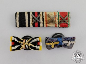 Germany. Three First and Second War Ribbon Bars and Boutonnieres