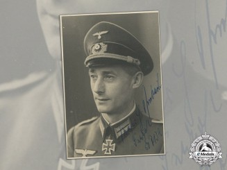Germany. A Wartime Signed Studio Portrait of KC winner, Fallschirm Artillery Regiment 1
