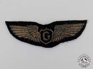 United States. An Army Air Force (USAAF) Gilder Pilot's Bullion Dress Wing Badge
