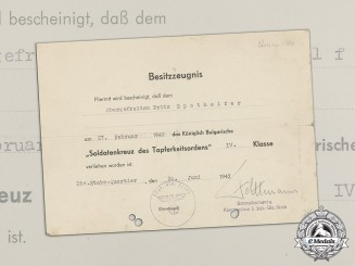 Germany, Heer. A Bulgarian Soldier Cross 4th Class Document signed by DKiS Recipient