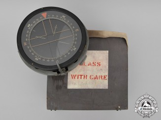 United Kingdom. A Royal Air Force P10 Aircraft Compass No. 29048 B in its Wooden Case, Lancaster Bomber Type