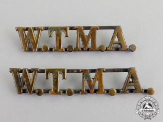 United States. Two West Texas Military Academy (WTMA) Collar Tab Insignia, c.1890