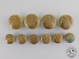 United States. Ten West Texas Military Academy (WTMA) Buttons,  c.1890
