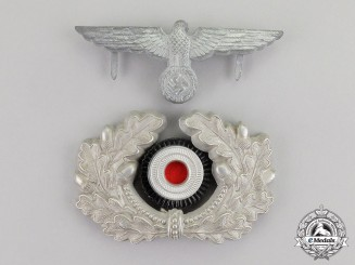 Germany. A Wehrmacht Heer (Army) Set of Officer's Visor Cap Insignia