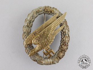 Germany. A Luftwaffe Fallschirmjäger Badge by JMME & Sohn of Berlin; Fletched & Flawless Wing Type