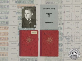 Germany, DAF. Labour Front Books and ID Card for Father and Son Osterhage