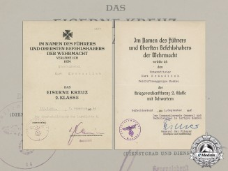 Germany. An EK & War Merit Cross 2nd Class Documents Issued by Luftgau Moscow, Sept.1942
