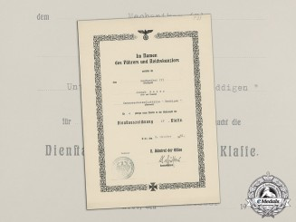 Germany. A 1936 Long Service Medal Document to U-boat Torpedoman