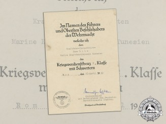 Germany. A War Merit Cross 2nd Class Award Document to Navy Motor Company Tunisia