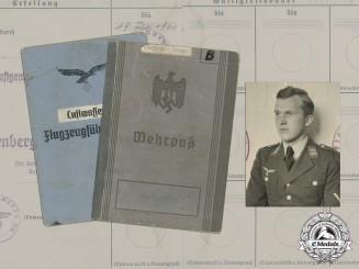 Germany. A Wehrpaß & Luftwaffe Pilot's License to Oberfeldwebel Adolf Bertram