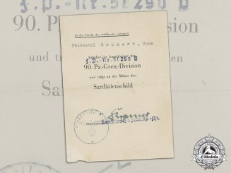Germany. A Rare Sardinia Shield Award Document to Feldwebel Hans Grünert