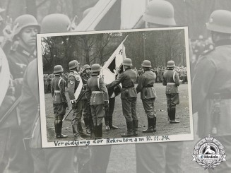 Germany, Heer. A 1937 Photo of Heer Soldiers taking the Oath with Standard