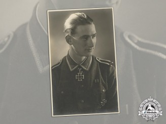 Germany. A Wartime Signed Studio Portrait of NCO Gerhard Kunert (KIA, KC w/Oak Leaves)