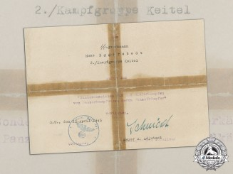 Germany. A Rare Award Document for the Tank Destruction Badge, SS Recipient
