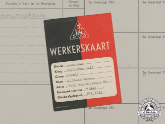 Germany. A Dutch NSB Labour Card to A. Sluis Rozema
