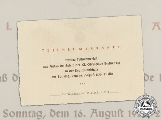 Germany. An Attendee Card for Participants' Party at Closing of Olympic Games 1936