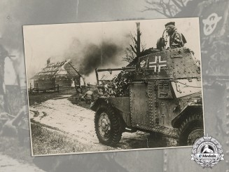 Germany. A Large Press Photo of German Armored Vehicle at Eastern Front