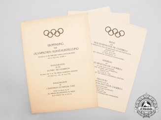 Germany. A Scarce Set of 1936 Olympic Art Exhibition Opening Speeches with Menu
