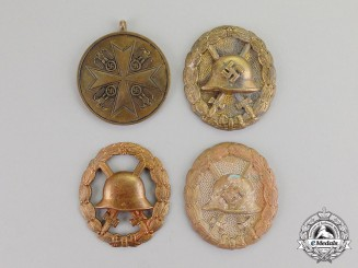 Germany. Four Zimmermann Recovered First and Second War Badges and Medals