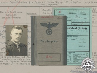 Germany. A Wehrpaß and Documents to Gefreiter Johann Frischmann, WIA at Sevastopol
