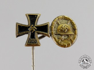 Germany. An Iron Cross and Silver Grade Wound Badge Miniature Stick Pin