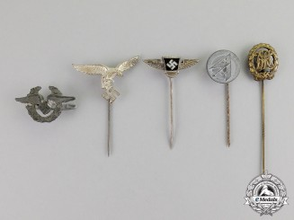 Germany. Five Third Reich Period Stick Pins and Badges