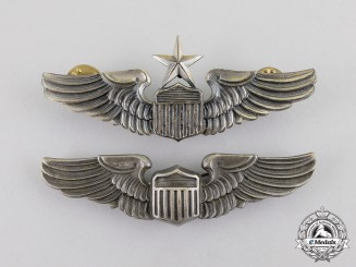 United States. A Pair of United States Army Air Force (USAAF) Pilot and Senior Pilot Badges