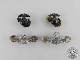 United States. Two Reduced Size U.S. Army Air Force Pilot Badges and two U.S. Marine Corps Collar Insignia