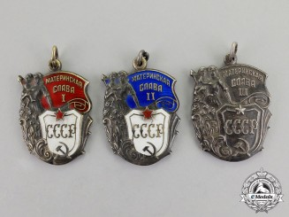 Russia, Soviet Union. A Set of Three Orders of Maternal Glory