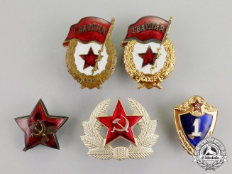 Russia, Soviet Union. A Lot of Five Red Army Badges
