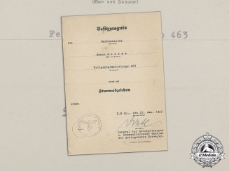 Germany. A General Assault Badge Award Document Signed by General of Mountain Troops Eduard Dietl