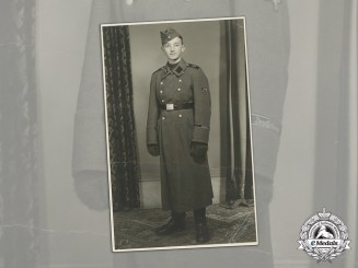 "Germany. A Studio Portrait of a Young SS Man in Greatcoat (SS-Standarte ""Deutschland"")"