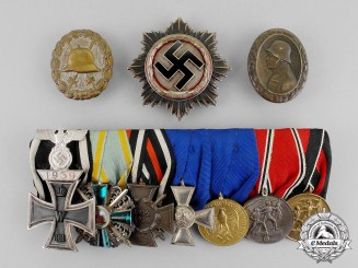 Germany. A Fine Wehrmacht Heer German Cross in Silver & Long Service Award Group