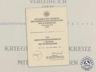 Germany. A War Merit Cross Document to Marineoberstabsarzt Dr. Lorenz Petersen, Signed by Admiral Schmundt