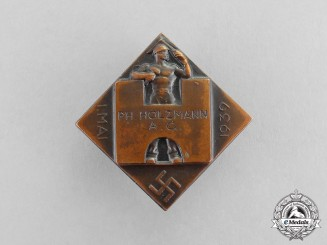 Germany. A 1939 Holzmann Day of Labour Employee Supporter's Buttonhole Badge