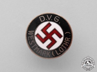 Germany. A Volks-Comrade Union Westmark (Lothr) Membership Badge by W. Redo