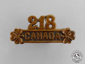 "Canada. A 218th Infantry Battalion ""Edmonton Irish"" Shoulder Title"