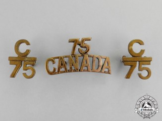 Canada. A Lot of Three First War 75th Infantry Battalion Insignia